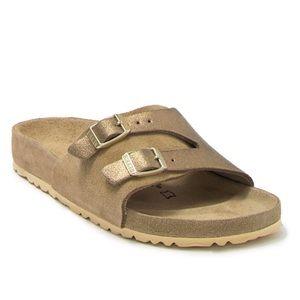 Birkenstock Vaduz Metallic Leather Slide Sandal 37